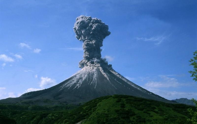 Karymsky volcano in Russia, erupting in 2004